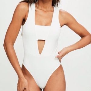 Missguided White Thong Bodysuit
